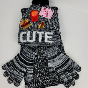 SWAK girls knit hat, scarf & gloves set